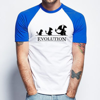 Pokemon Evolution 78 Short Sleeve Raglan - White Red - White Blue - White Black