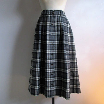 80s Alpaca Pleat Skirt Vintage Ports International Gray Black Plaid Winter Midi Skirt Medium