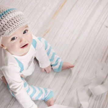 Baby Boys Gray Crochet Beanie-Boys Crochet Hat-Newborn Hat-Photo Props-Cake Smash