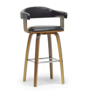Baxton Studio Quigley Walnut and Black Modern Counter Stool Set of 1