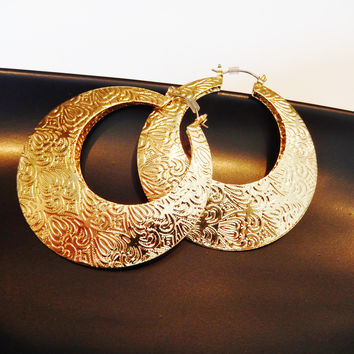 Etched Indian Large Hoop Earrings Ultra Light Weight