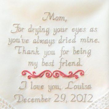 Personalized Embroidered Wedding Handkerchief for Mother of the bride by Canyon Embroidery