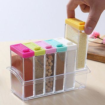 Useful 6pcs/set Seasoning Boxes Spice Jar Salt Pepper Condiment Containers for Kitchen