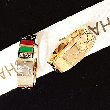 GUCCI Fashion Women Men Golden Silver Titanium Steel print ring
