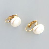 Grecian Princess Pearl Clip Earrings