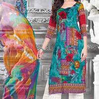 Groovy Sky Blue Color Embroidered Palazzo Suit