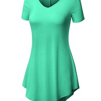 Womens Short Sleeve V-neck Handkerchief Hem Loose Fit Long Tunic Top with Plus Size