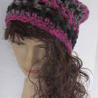 Women's Crochet Chunky Slouchy Beanie Hat Black Purple Grey