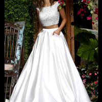 Embellished Crop Top Sherri Hill Formal Prom Gown 50088