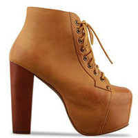PU Leather Front Lace Up Chunky High Heel Booties