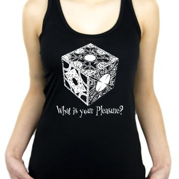 "Puzzle Box ""What is your pleasure?"" Women's Racer Back Tank Top Shirt Hellraiser Pinhead"