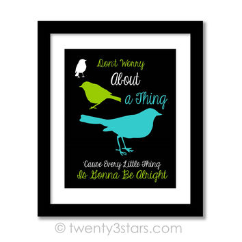 Three Little Birds Wall Art - Bob Marley Song Quote Wall Art - Choose Any Colors - twenty3stars