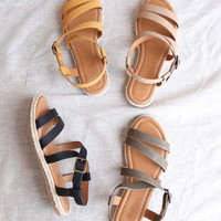 Women's Espadrille Strappy Sandals with Buckle detailing and Ankle Strap - More colors