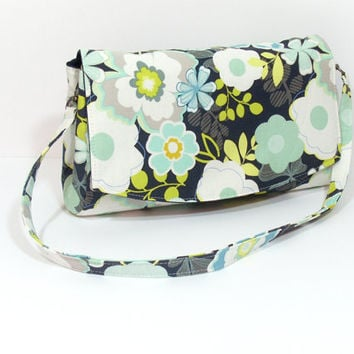Purse, Shoulder Bag, Floral Purse Bag, Large Clutch Bag, Navy Blue Purse, Summer Floral Purse, Purse with Zipper, Purse with Divider