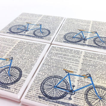 Ceramic Tile Coasters - Blue Bicycle - Set of 4 - Upcycled Dictionary Page Book Art - Home Decor