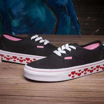 VANS Canvas Shoes Hearts Pattern Flats Sneakers Sport Shoes