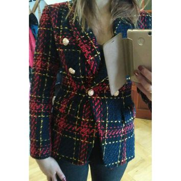 HIGH STREET New Fashion Runway 2018 Designer Blazer Women's Lion Metal Buttons Plaid Colors Tweed Wool Blazer Jacket Size S-XXL