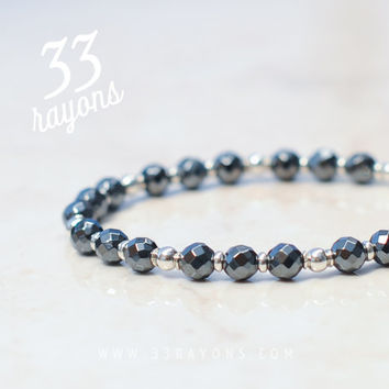 Mens HEMATITE & Sterling Silver bracelet - Mens jewelry - Gift for him