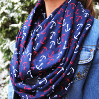 ANCHOR INFINITY SCARF, red and blue scarf, anchors scarf, nautical print scarf, cute winter scarf, navy blue loop scarf, great gift idea
