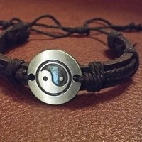 Genuine Leather Tibetan Ying Yang Pendant Bracelet