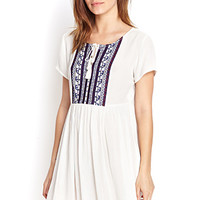 FOREVER 21 Embroidered Gauze Smock Dress
