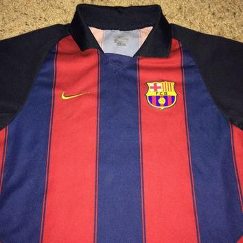 Sale!! Vintage Nike FC BARCELONA Soccer Jersey Youth FCB Football shirt