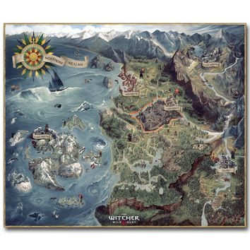 The Map of Witcher 3 Wild Hunt Art Silk Poster Huge Pritn 23x20 32x38 inch Hot Game Pictures for Living Room Decoration 048