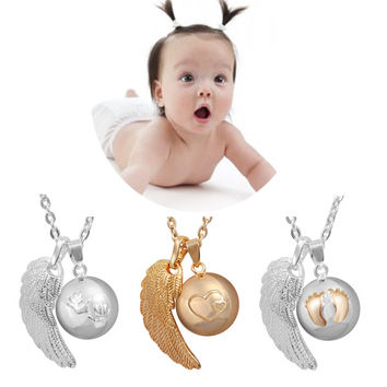 Angel Caller Necklace Fashion Pregnancy Jewelry Copper Metal Chime Bola With angel wing pendant FN14-MIX
