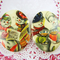 Retro Vintage Snowmen Christmas Cabochons 40x30mm Mixed Set of 2