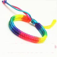 Pulsera Gay Pride Woven Rainbow Bracelets Hot Color Jewelry Lesbian Lgbt Bracelets