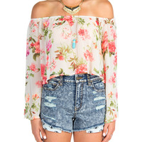 Off the Shoulder Breezy Floral Top - Cream - Small