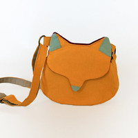 Cross body handbag cat small messenger cat shape bag, Fox bag, Fox purse mustard