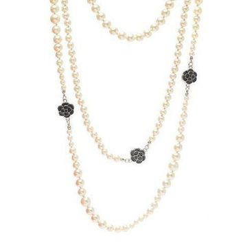 DCCKNQ2 Chanel Woman Fashion Logo Pearls Necklace For Best Gift-7
