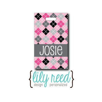 Argyle...Personalized Luggage Bag Tag