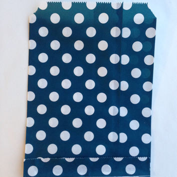 25 Navy Blue Polka Dot favor bags / Treat Bags / Wedding Favor Bags / Birthdays /Party Favor Bags / Polka Dot Paper Treat Bags / Bakery Bags