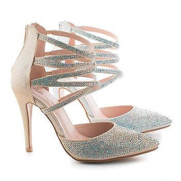 Annabelle01 By Bella Luna, D'Orsay Rhinestone Studded Ankle Wrap Stiletto Pumps
