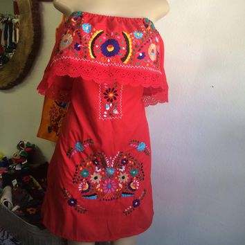 Mexican Red Mini Dress Off-Shoulder Ruffled