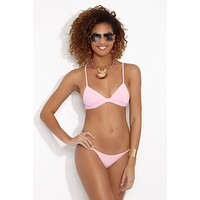 Sienna Triangle Bralette Bikini Top - Strawberry Milkshake Pink