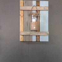 Beach Themed Weathered Look Wall Sconce and Serving Tray Set
