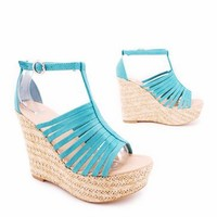 strappy suede espadrille wedge $22.00 in BEIGE CORAL TEAL - Wedges | GoJane.com