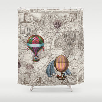 Hor Air Balloon Style Shower Curtain - antique map  - derigibles -  retro Steampunk Home Decor - Bathroom - maps, antique brown, beige