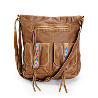T-Shirt & Jeans Pipa Tribal Embroidered Faux Leather Tote Bag