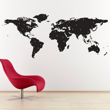 World Map Decal with 50 Marking Pins - Geography Wall Art - Office Decor - Large