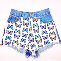 90's Butterfly Denim High Waisted Shorts // M