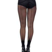 Black Cuban Heel Stockings