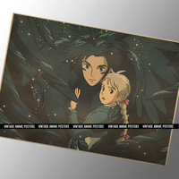 60x42cm Howl and Sophie Vintage Style Poster from Howl's Moving Castle Movie - Studio Ghibli Movie Poster - Hayao Miyazaki Animation Film