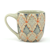 Ceramic Teacup - Mug with Orange, Navy and Purple Pattern