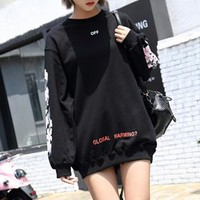"""OFF-WHITE"" Women Fashion Casual Cherry Blossoms Letter Print Loose Long Sleeve Pullover Sweater Tops"