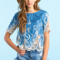 Chambray Crochet Boxy Tee