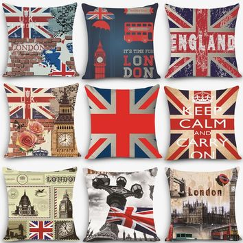 "1pc Euro style cheap cushions England london Print Decorative Cushion Throw Pillow 18"" Vintage Cotton Linen Square MYJ-B1"